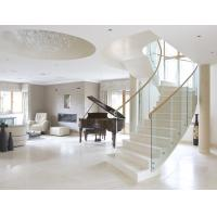 Cheap Stainless steel straight staircase with marble tread glass balustrade for sale