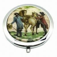 Cheap Round-shaped Pocket Mirror with Metal Case and Fashionable Features, Customized Logos are Accepted for sale