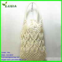 Cheap Crochet Engraving flower Paper String Straw Bags for sale