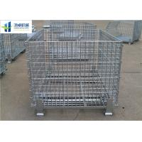 Cheap Euro Warehouse Wire Mesh Container Wire Folding Bulk Containers With Wooden Pallet for sale