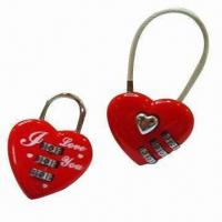 Cheap Combination locks in heart shape, made of zinc alloy for sale