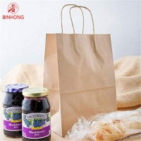 China Durable 10×5×13''  Kraft Paper Bag With Handles on sale