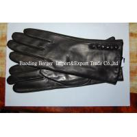 China 2014 lady leather glove,fashion winter gloves,touch screen glove and back with button on sale