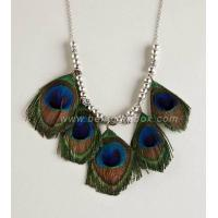 China peacock feather fashion necklace on sale