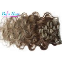 Cheap Light Brown / Blonde Free Tangle Clip In Virgin Hair Extensions 12 Inch for sale
