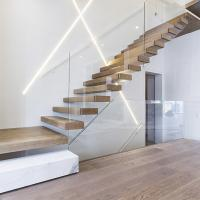 Cheap home used diy wooden floating staircase fancy timber stairs for sale