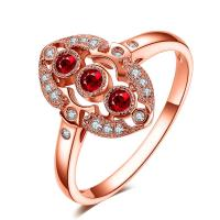 Cheap Fine Jewelry Ruby Diamond Ring In Solid 18Kt Rose Gold for Women Loving Gift for sale