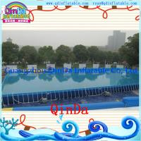 China Summer swimming rectangular PVC outdoor above ground metal frame pools on sale