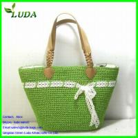 Cheap Green Paper String Handbags with white Sash w/Beads Handles for sale