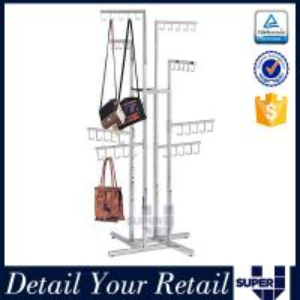 China Adjustable arm chrome plating display rack for retail bag shop on sale