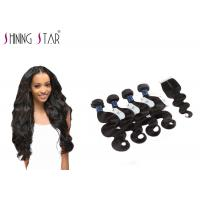 Cheap 4 Bundles Unprocessed Remy Hair Extensions Weave With Closure No Bad Smell for sale