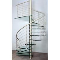 Cheap Interior spiral staircase with wooden steps glass railing design for sale