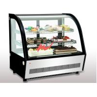 Cheap Small Curved Glass Refrigerated Bakery Display Case Countertop Mirrors / Steel Base for sale