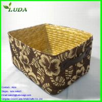 Cheap Printed flower trimming wheat straw laundry basket for sale