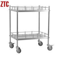 Cheap Stainless steel mobile hospital trolley on wheels, Double Layer Medical Trolley RCS-NH21 for sale