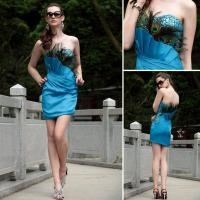 Cheap Peacock Feathered Strapless Prom Dress for sale