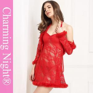 China Three Pieces Mature Woman Female Fur Red Sexy Fetish ladies honeymoon nightwear on sale