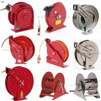 Multi-positional guide arm facilitates ceiling, wall or floor mount Metal Clean Air Hose Reel