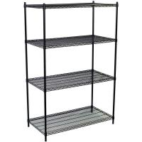 Cheap Grocery Store Heavy Duty Commercial Wire Shelving 4 Layers Black Epoxy Surface Finish for sale