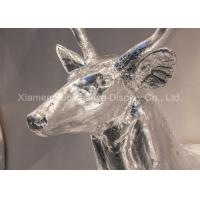 Cheap Wall Mounting Shop Display Christmas Decorations Fiberglass Deer Head Silver Color for sale