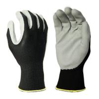 Cheap N2001 13G Black Polyester Liner, with Grey Foam Nitrile Palm Coating, Breathable for sale