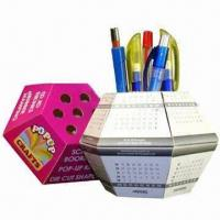 Cheap Advertising Pop-up Ball Paper Pen Holders, Cube Measures 13x13x7.5cm for sale