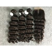 Cheap Virgin Loose Deep Wave 100% Brazilian Virgin Hair With Closure Natural Color for sale