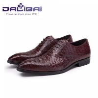Cheap genuine leather men shoes in brown crocodile pattern custom made wholesale
