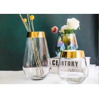China Egg Shape Whiskey Glass Cups With Gold Edge / Glass Flower Vases For Decoration on sale