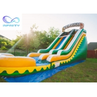 Cheap Commercial High Quality Giant Adults N Kids Yellow Inflatable Jungle Water Slides With Pool for sale