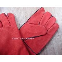 "Cheap High quality 14"" Red color Cow Split Welding Gloves/Safety Gloves / Working Gloves wholesale"