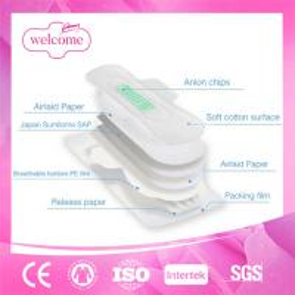 Lady women cotton anion negative ion herbal sanitary napkin pad.jpg