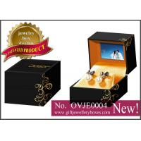 Cheap Black flower printed Gift Jewellery Boxes, square packaging earrings box with video for earrings for sale