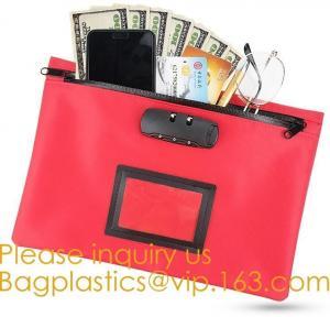 China Leatherette Money Security Deposit Bag With Framed ID Window,Custom zipper file folder bag PU leather pouches deposit ba on sale