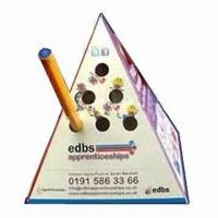 Cheap Advertising Pop-up Pyramid Paper Pen Holder, Made of 500 Microns Box Board for sale