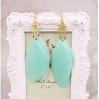 China Fashion jewelry gold plateddrop earring with feather  for women on sale