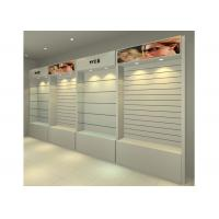 China MDF Glossy White Wall Mounted Display Cabinets Freestanding With Light Box on sale