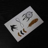 Gold foil stamping temporary tattoo silver foil stamping for Gold foil tattoo