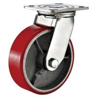 Cheap Red Heavy Duty Swivel Plate Caster Wheel / 6 Inch Caster Wheels Polyurethane On Iron for sale