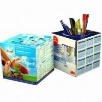Cheap Promotional Pop-up cube Paper Pen Holders with Offset Printing for sale