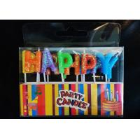 Cheap Glitter Letter Shaped Birthday Candles Colorful Wax Material With Plastic Stick for sale