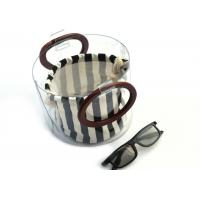 Cheap Canvas Round Shape Navy Blue Clutch Bag Stripe Pattern With Wood Handle 0.8 MM for sale