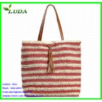 Cheap Stripe Color Paper String Lady Handbags for sale