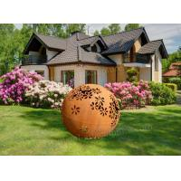 Cheap Modern Corten Steel Garden Art Metal Ball Sculpture As Backyard Decoration for sale