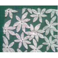 Cheap Cotton embroidered mesh water soluble lace fabric , flower pattern for Formal dress for sale
