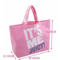 China Pink Printed Canvas Tote Bags Ladies Cotton Handbags for Ladies Supermarket on sale