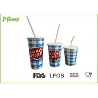 Cheap Eco friendly Cold Paper Cups With Plastic Straw And Lid , Large Medium Small Size for sale