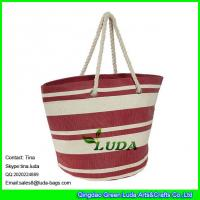 Cheap LUDA red and white stripe beach totes paper straw made extra large beach bag for sale
