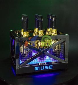 China Metal Frame LED Ice Bucket with Laser Lighting LED Ice Bucket on sale
