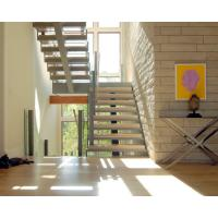 Cheap Center stringer U-shape staircase straight staircase with wooden tread for sale